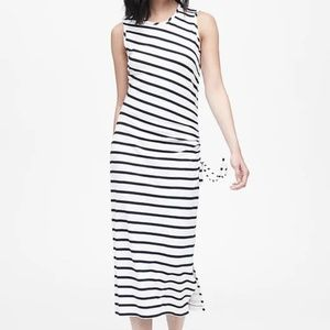 Banana Republic Stripe Ruched Dress with Slit, M